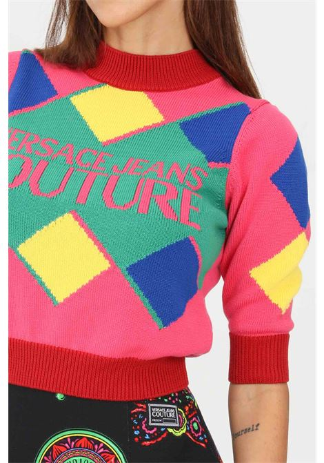Multicolor women's sweater by versace jeans couture crew neck model VERSACE JEANS COUTURE | Knitwear | 71HAF802CM00MOB5