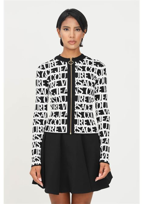 Cardigan bianco nero donna versace jeans couture con zip sul fronte VERSACE JEANS COUTURE | Cardigan | 71HAF827CM03NL01 (899+003)