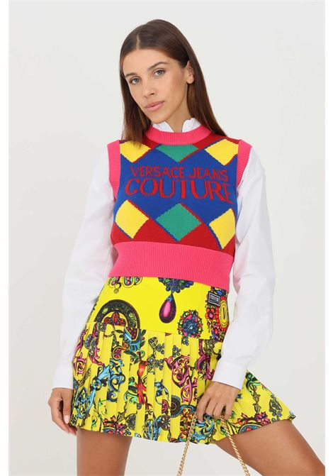Multicolor women's sweater by versace jeans couture no sleeves VERSACE JEANS COUTURE | Knitwear | 71HAF829CM00MOB5