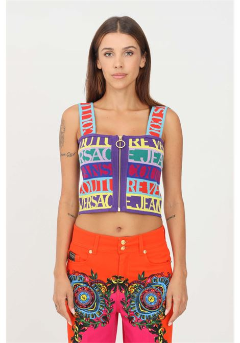 Knitted top by versace jeans couture casual model with front zip VERSACE JEANS COUTURE | Top | 71HAF830CMO4N983