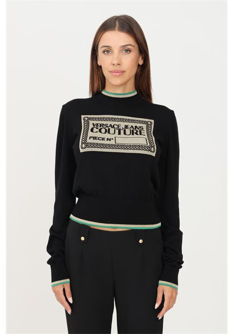 Black women's sweater by versace jeans couture crew neck model with front logo VERSACE JEANS COUTURE | Knitwear | 71HAF841CM00MOB7