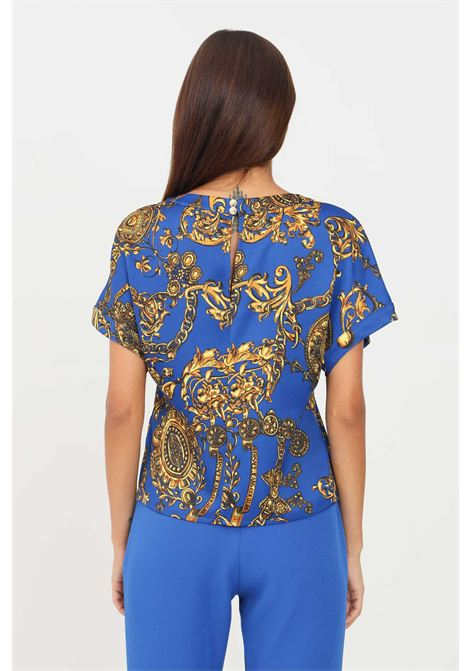 Blusa donna fantasia versace jeans couture a manica corta con stampa allover VERSACE JEANS COUTURE | Bluse | 71HAH206NS006G24 (243+948)