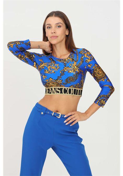 Cobalt women's top by versace jeans couture casual model with logo band VERSACE JEANS COUTURE | Top | 71HAH218JS008G24 (243+948)