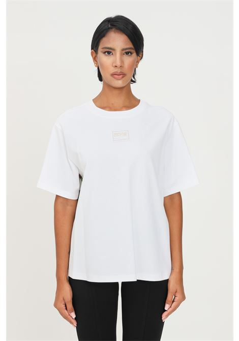 White women's t-shirt by versace jeans couture printed plisset on the back short sleeve VERSACE JEANS COUTURE | T-shirt | 71HAH611J0005003
