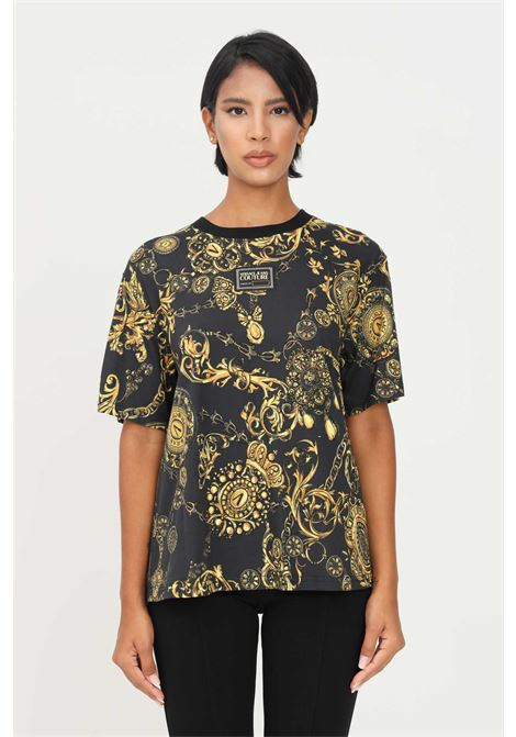 Black women's t-shirt by versace jeans couture with plisset on the back short sleeve VERSACE JEANS COUTURE | T-shirt | 71HAH611JS015G89 (899+948)
