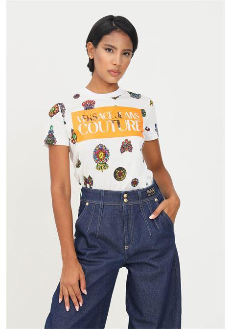 T-shirt donna bianco fantasia barocca versace jeans couture a manica corta VERSACE JEANS COUTURE   T-shirt   71HAH613JS001003