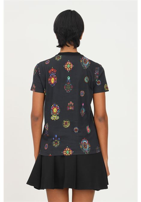 Black women's t-shirt with baroque print by versace jeans couture short sleeve VERSACE JEANS COUTURE | T-shirt | 71HAH613JS001899