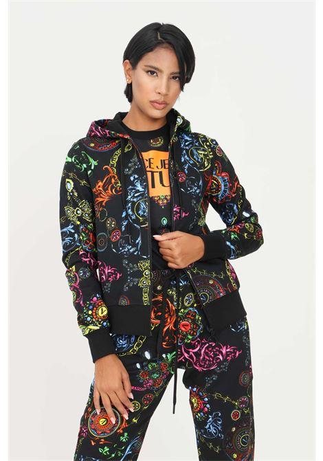 Felpa nero donna versace jeans couture con zip e cappuccio VERSACE JEANS COUTURE   Felpe   71HAI306FS002899