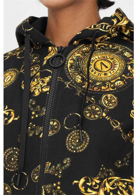 Black women's hoodie by versace jeans couture with zip VERSACE JEANS COUTURE | Sweatshirt | 71HAI306FS002G89 (899+948)