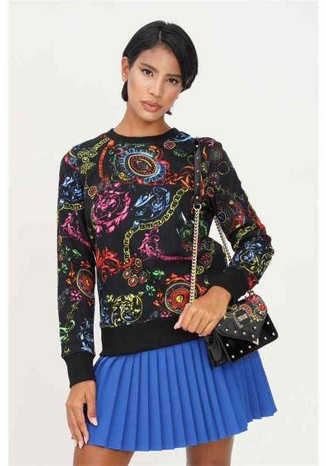 Felpa donna nero versace jeans couture modello girocollo con stampa allover VERSACE JEANS COUTURE   Felpe   71HAI309FS002899