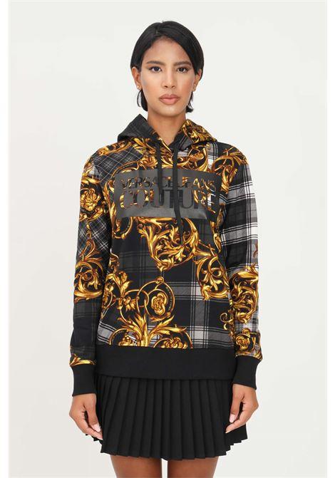 Felpa nero donna versace jeans couture con stampa baroque e cappuccio VERSACE JEANS COUTURE   Felpe   71HAI3A8FS005G80 (800+ORO)