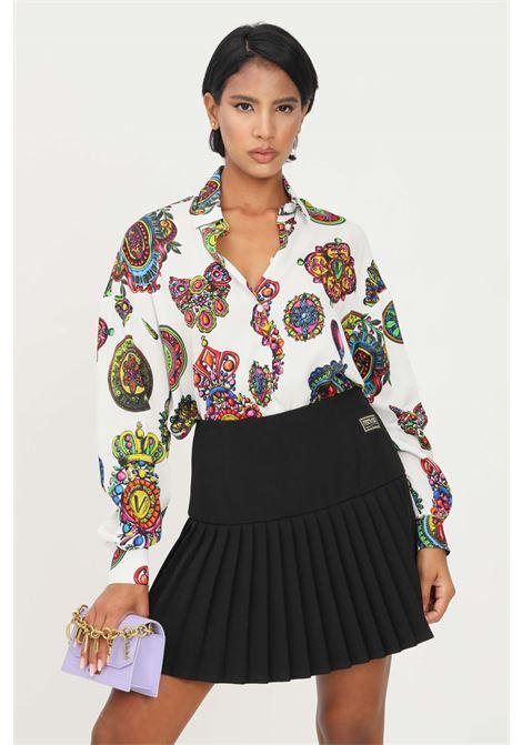 Camicia donna bianco versace jeans couture elegante con stampa barocca VERSACE JEANS COUTURE | Camicie | 71HAL211NS000003