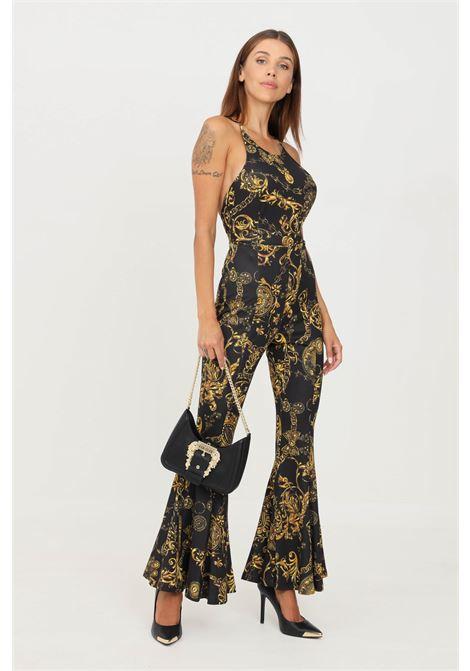 Tuta donna nero oro versace jeans couture elegante con stampa allover VERSACE JEANS COUTURE | Tute | 71HAN001JS009G89 (899+948)