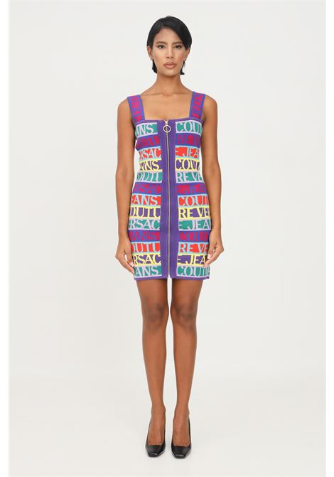 Multicolor dress by versace jeans couture with allover lettering logo VERSACE JEANS COUTURE | Dress | 71HAO824CM04N983