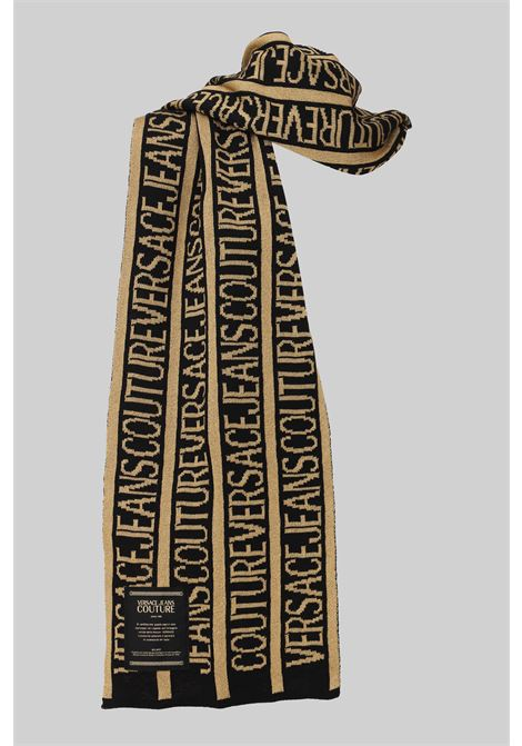 Black gold versace jeans couture scarf with allover logo. VERSACE JEANS COUTURE | Scarf | 71VA2H50ZG024G89 (899+948)