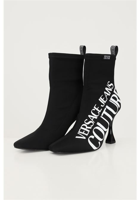 Black women's boots by versace jeans couture with lettering logo in contrast VERSACE JEANS COUTURE   Ankle boots   71VA3S86ZS007899
