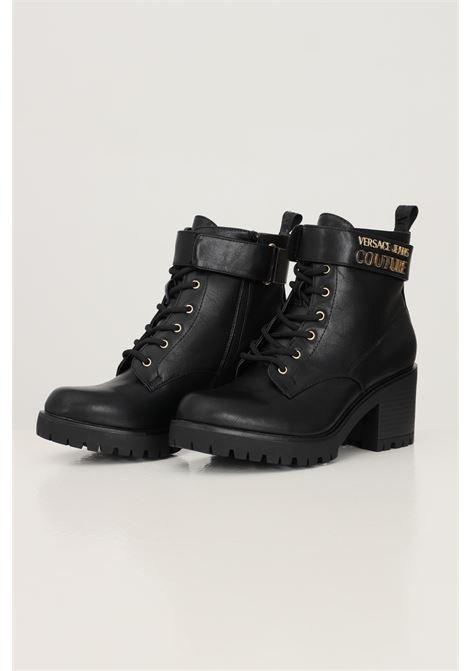 Stivaletti fondo mia donna nero versace jeans couture con applicazione logo lettering VERSACE JEANS COUTURE | Stivaletti | 71VA3S9071570899