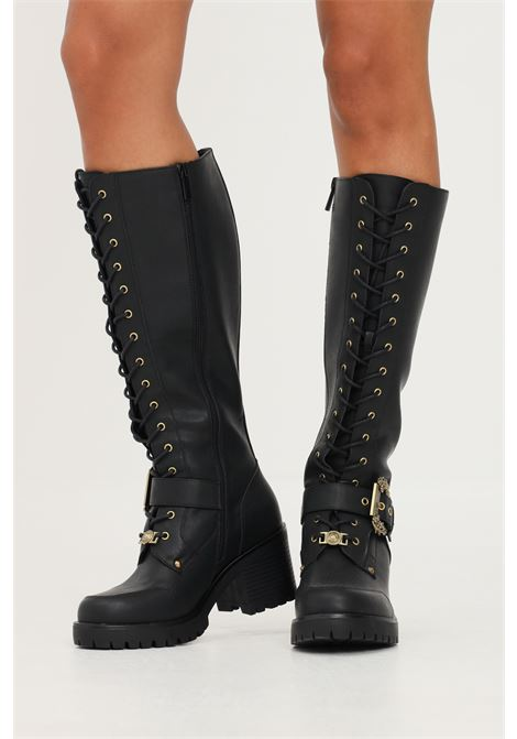 Black women's fondo mia ankle boots by versace jeans couture with gold logo buckle VERSACE JEANS COUTURE | Boot | 71VA3S95ZS002899
