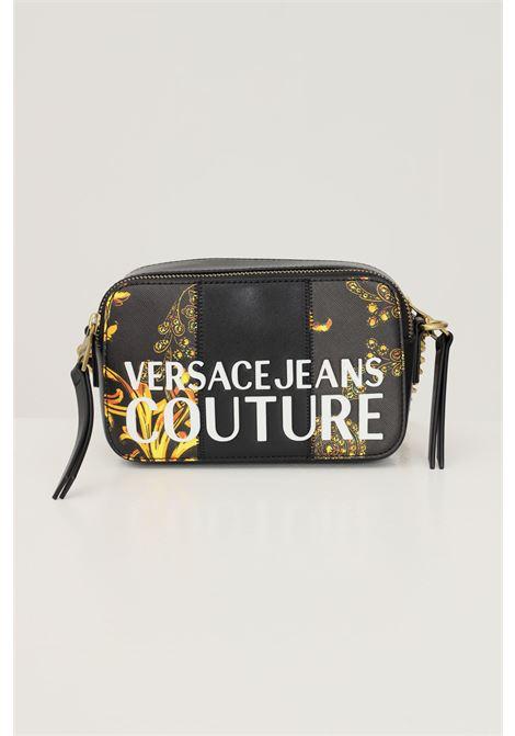 Borsa donna nero versace jeans couture con tracolla regolabile e applicazione logo a contrasto VERSACE JEANS COUTURE   Borse   71VA4B41ZS082G89 (899+948)