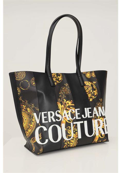 Borsa donna nero oro versace jeans couture con applicazione logo lettering VERSACE JEANS COUTURE   Borse   71VA4B46ZS082G89 (899+948)