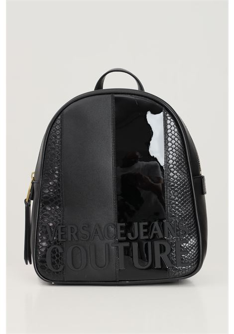 Zaino donna nero versace jeans couture con logo frontale in rilievo VERSACE JEANS COUTURE | Zaini | 71VA4B47ZS074899