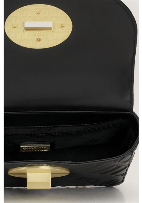 Borsa donna nero versace jeans couture con tracolla fissa e logo allover in rilievo tono su tono VERSACE JEANS COUTURE   Borse   71VA4BM1ZS075899