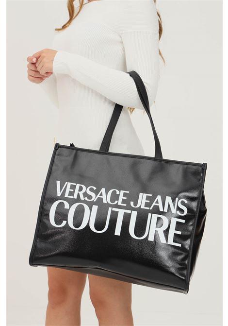 Shopper donna nero versace jeans coture con maxi logo a contrasto VERSACE JEANS COUTURE   Borse   71VA4BW1ZG030L01 (899+003)