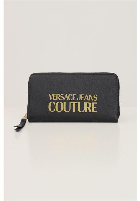 Black women's wallet by versace jeans couture with gold logo on the front VERSACE JEANS COUTURE | Wallet | 71VA5PL171879899