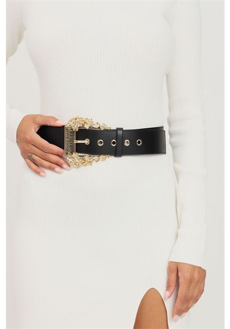 Black women's belt by versace jeans couture with maxi logo buckle VERSACE JEANS COUTURE | Belt | 71VA6F0271627899