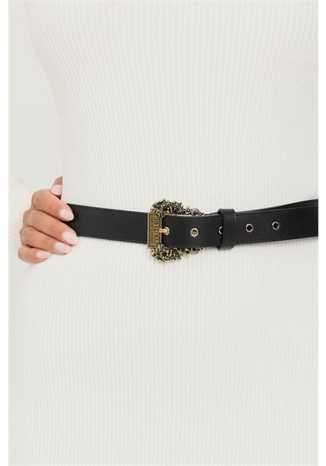 Black women's belt by versace jeans couture with antique gold logo buckle and rhinestones VERSACE JEANS COUTURE | Belt | 71VA6F0471627899