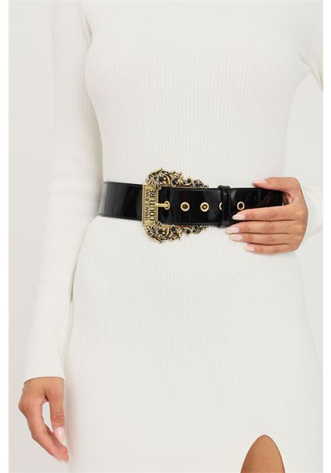 Black women's belt by versace jeans couture shiny effect VERSACE JEANS COUTURE | Belt | 71VA6F05ZP053899