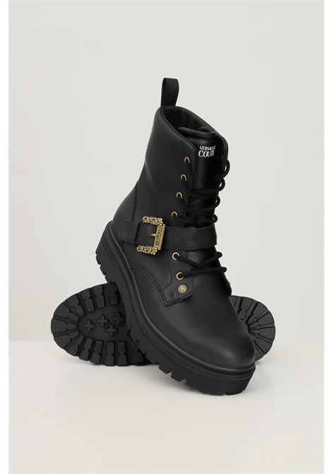 Black men's boots by versace jeans couture with gold buckle VERSACE JEANS COUTURE | Ankle boots | 71YA3S33ZP005G89 (899+948)