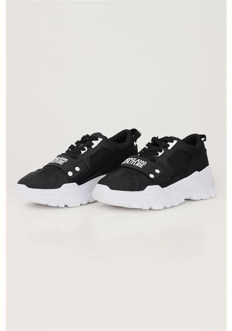 Sneakers chunky uomo nero versace jeans couture con applicazione logo in gomma VERSACE JEANS COUTURE   Sneakers   71YA3SC471604899