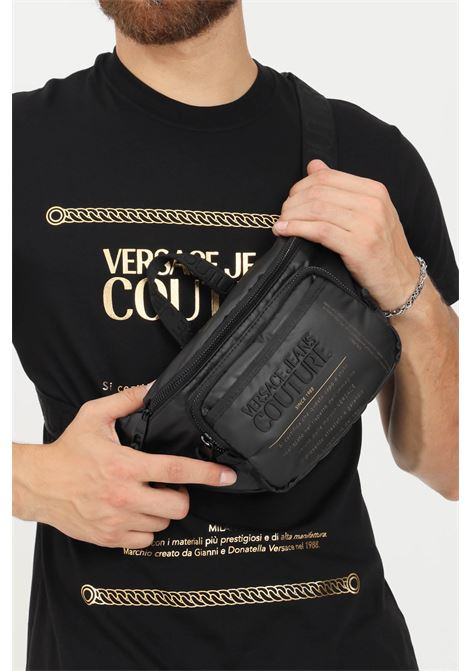 Black men's pouch by versace jeans couture with logo label VERSACE JEANS COUTURE   Pouch   71YA4B31ZS103899