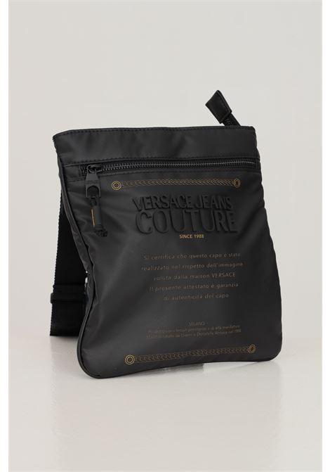 Borsa tracolla uomo nero versace jeans couture con logo label VERSACE JEANS COUTURE | Borse | 71YA4B33ZS103899