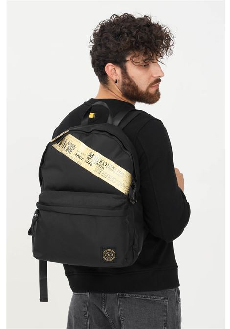 Black unisex warranty tape backpack by versace jeans couture VERSACE JEANS COUTURE | Backpack | 71YA4B70ZS105G89 (899+948)