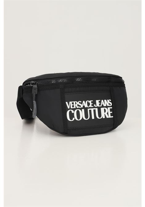 Black men's pouch by versace jeans couture with logo lettering in contrast VERSACE JEANS COUTURE   Pouch   71YA4B95ZS108899