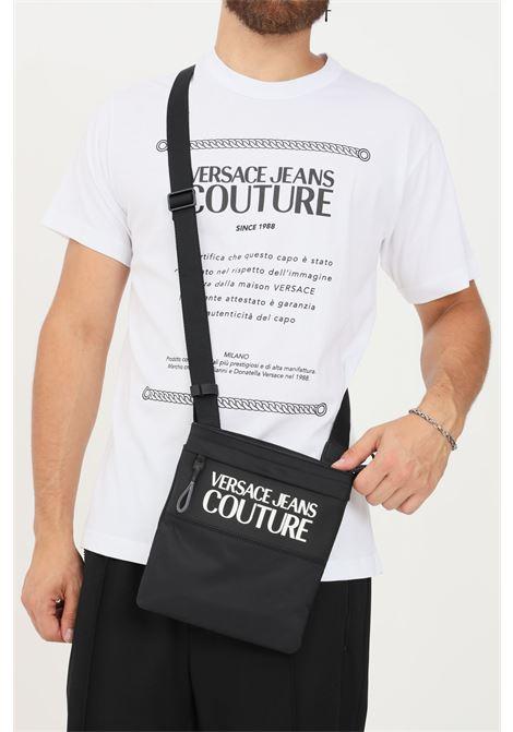 Borsa uomo nero versace jeans couture con tracolla e logo in rilievo VERSACE JEANS COUTURE | Borse | 71YA4B9CZS108899