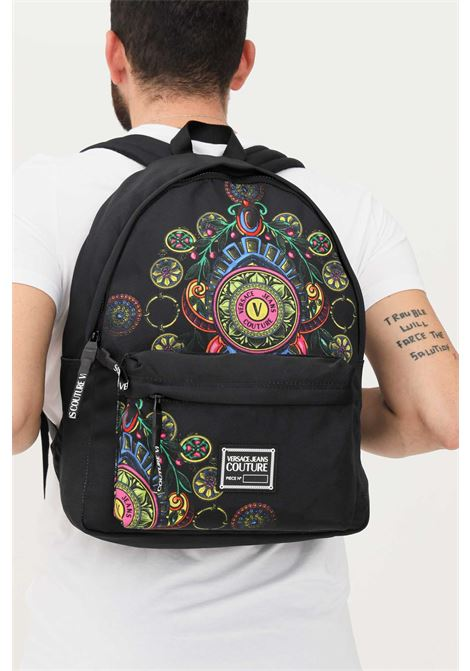 Black unisex backpack by versace jeans couture with distinctive print VERSACE JEANS COUTURE | Backpack | 71YA4BA1ZS111899