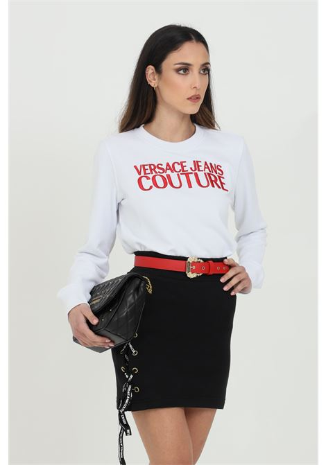 White sweatshirt with red embroidered logo on the front. Brand: Versace jeans couture VERSACE JEANS COUTURE | Sweatshirt | B6HWA7TS30318003