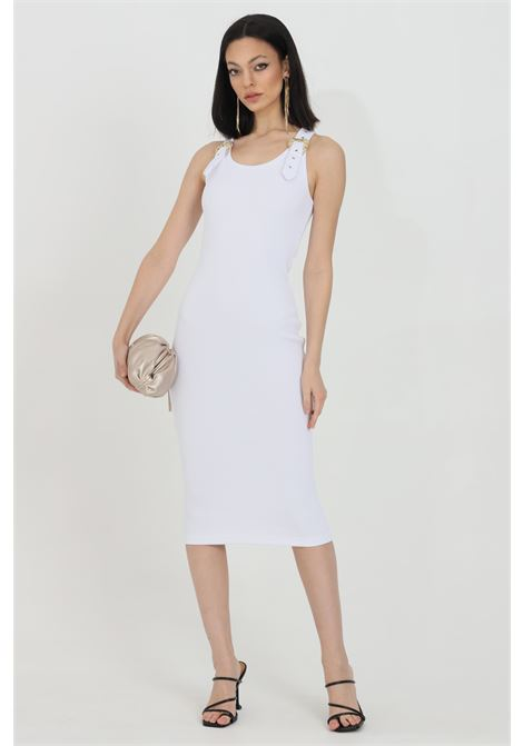 Abito donna bianco versace jeans couture midi a costine con fibbie oro VERSACE JEANS COUTURE | Abiti | D2HWA43910615003