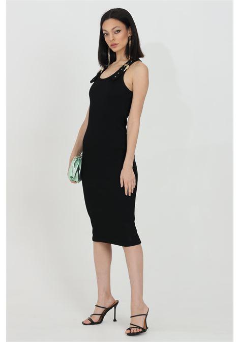 Abito donna nero versace jeans couture midi a costine con fibbie oro VERSACE JEANS COUTURE   Abiti   D2HWA43910615899