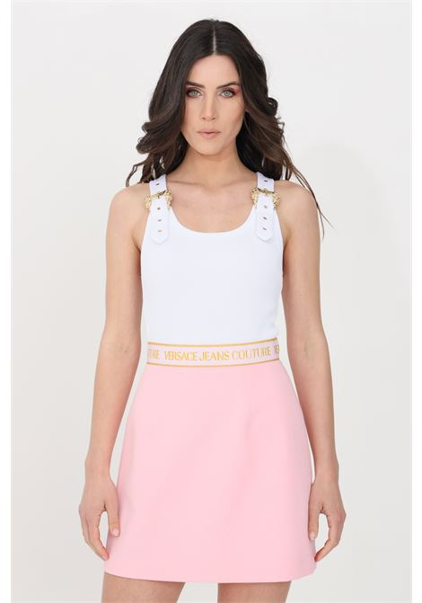 Top donna bianco versace jeans couture casual a costine VERSACE JEANS COUTURE | Top | D3HWA65110615003