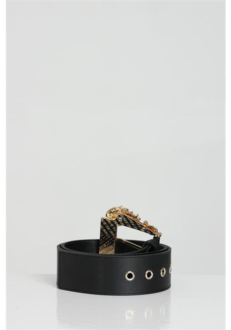 Cintura donna nero versace jeans con tessuto martellato e maxi fibbie in oro VERSACE JEANS COUTURE | Cinture | D8VWAF0271627899