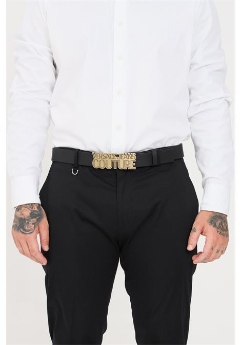 Black men's belt with maxi buckle and gold logo versace jeans couture  VERSACE JEANS COUTURE | Belt | D8YWAF0471627899