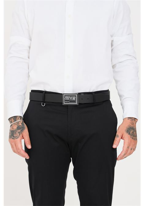 Black men's belt closure with logo buckle versace jeans couture VERSACE JEANS COUTURE | Belt | D8YWAF2171632899