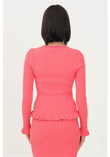 Pink women's sweater by vicolo, crew neck model with flounces on the bottom VICOLO | Knitwear | 70657065XROSA
