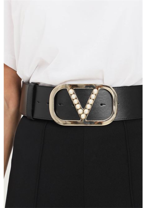 Black women's belt by vicolo with maxi gold buckle and pearl application VICOLO | Belt | AX0009NERO