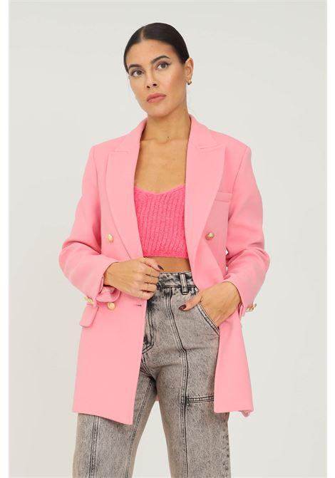 Giacca donna rosa vicolo chiusura frontale con bottoni oro VICOLO | Giacche | TX0046ROSA