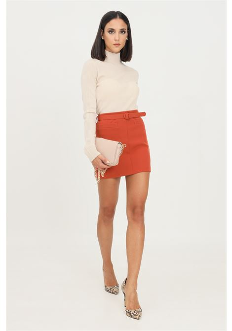 Brown skirt by vicolo short cut with belt at the waist VICOLO | Skirt | TX0061MATTONE